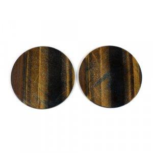 Natural Yellow Tiger Eye Round Shape Flat 39.50 Cts 34mm 1 Pair Loose Gemstone