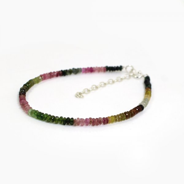 Natural Multi Tourmaline 3mm Roundel Faceted Beads 8 Inch Strand