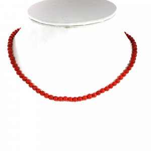 Natural Italian Coral 5mm Round Cabochon Beads 16 Inch Strand Necklace