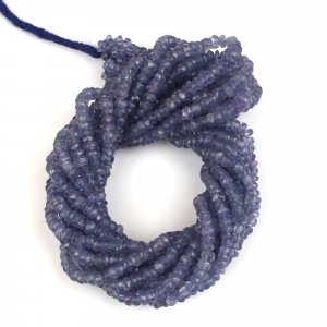 Natural Tanzanite 3mm Faceted Roundel Beads 18 Inch Per Strand Necklace (57.13 Cts)