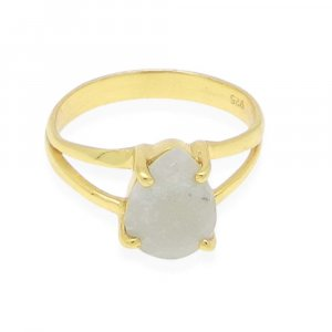 Nylon Aventurine 10x7mm Pear 18k Gold Plated Silver Prong Set Ring