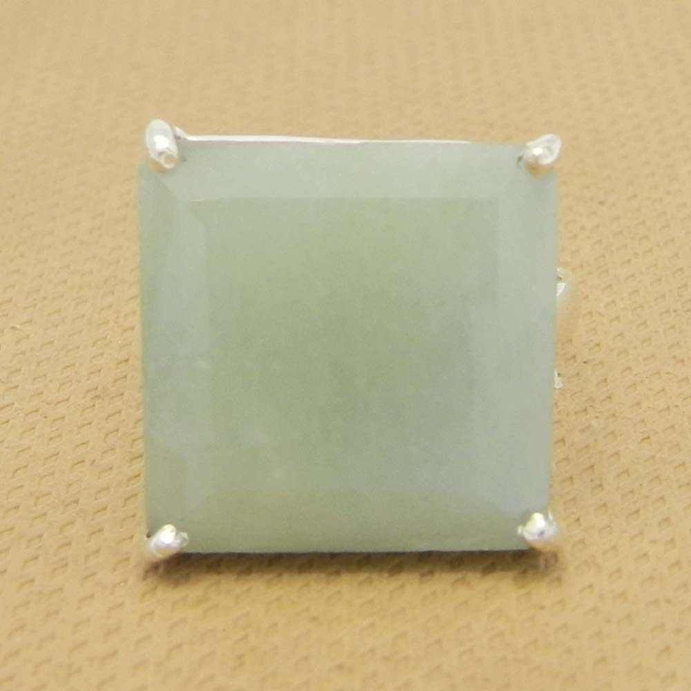 Nylon Aventurine 16x16mm Square 18k Gold Plated Silver Prong Set Ring