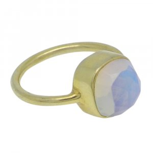 Opalite 11x11mm Cushion 925 Silver With Gold Plated Bezel Set Ring