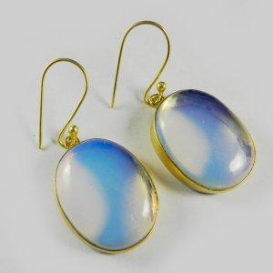 Opalite Earring 18k Gold Plated Bezel Earring