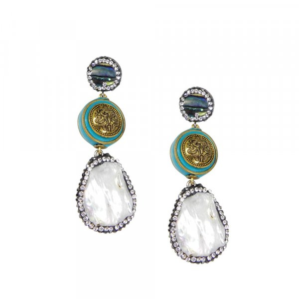 Party Wear Biwa Pearl Gold Plated Fashion Earring For Girls