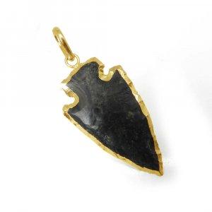 Party Wear Black Agate Electroplated Cross Arrowhead Brass Pendant