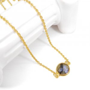 Party Wear Labradorite 19 Inch 18K Gold Plated Bezel Chain Necklace For Gift