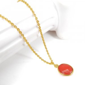 Party Wear Pendant Red Coral 18K Gold Plated Bezel Pendant For Girl