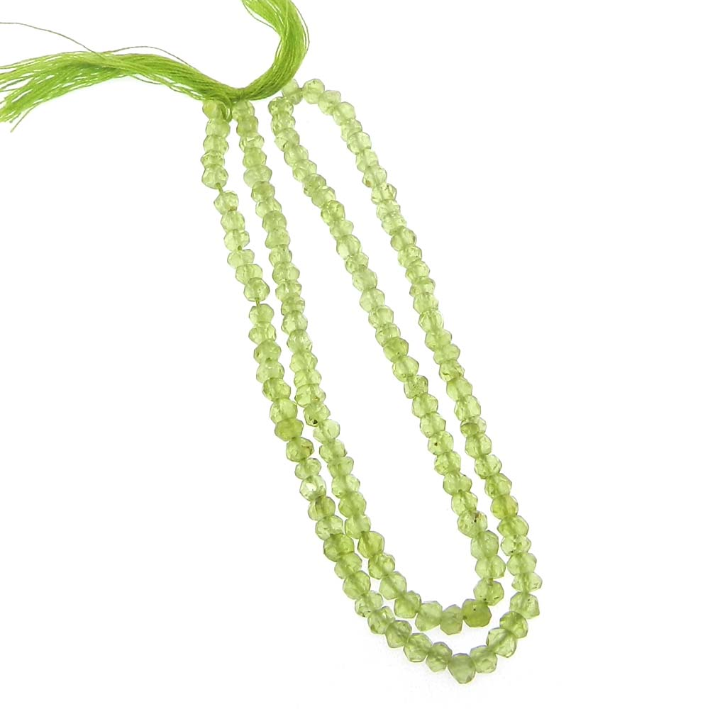 Peridot 3.5mm Roundel Facet 13 inch Strand Beads