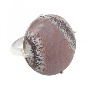 Picasso Jasper 22mm Round 925 Silver Prong Set Ring