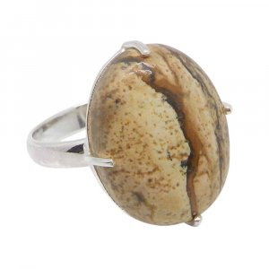Picture Jasper 21x17mm Oval 925 Silver Prong Set Ring
