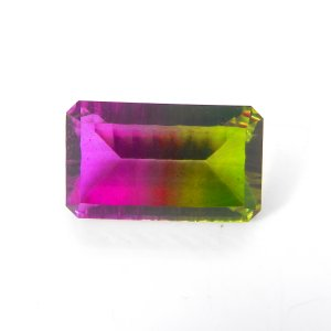Pink And Peridot Hydro 25x15mm Rectangle Concave Cut Doublet