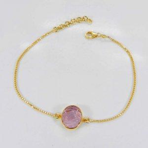Pink Morganite Hydro Gemstone 10 karat Real Gold Bracelet 4.30 Gms