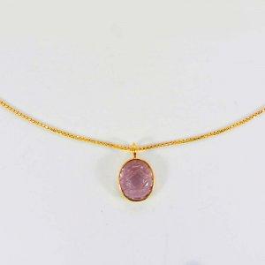 Pink Morganite Hydro Gemstone 10 karat Real Gold Necklace 6.04 Gms