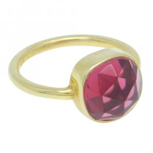 Pink Tourmaline Hydro 15x15mm Cushion 925 Silver With Gold Plated Bezel Set
