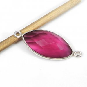 Pink Tourmaline Hydro 17x11mm Marquise Silver Double Loop Connector