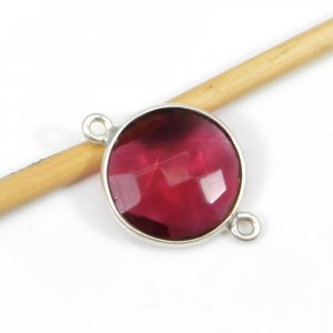 Pink Tourmaline Hydro 20x14mm Round Silver Double Loop Connector