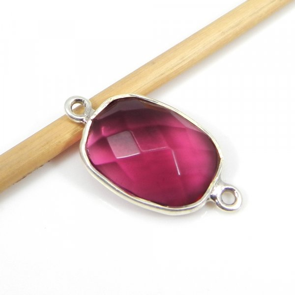Pink Tourmaline Hydro 23x13mm Pear Silver Double Loop Connector