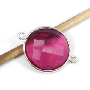 Pink Tourmaline Hydro 26x19mm Round Silver Double Loop Connector