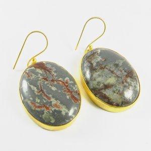 Porcelain jasper 18k Gold Plated Bezel Earring