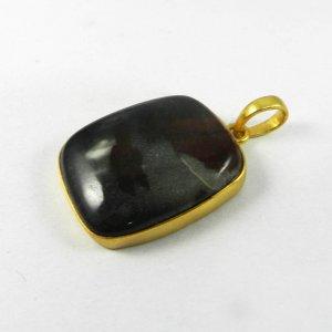 Porcelain Jasper 40mm 18k Gold Plated Bezel Pendant