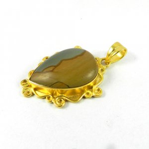 Porcelain Jasper 41mm 18k Gold Plated Bezel Pendant