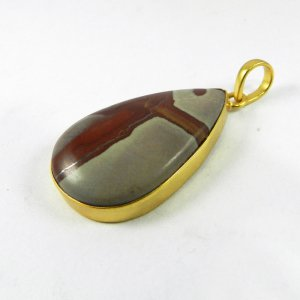 Porcelain Jasper 47mm 18k Gold Plated Bezel Pendant