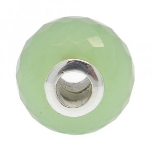 Prehnite Hydro Big Hole Roundel Faceted Silver Core Beads 16x10x4mm 20.1 Cts