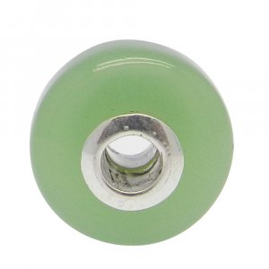Prehnite Hydro Big Hole Roundel Smooth Plain Silver Core Beads 14x8x3.5mm 13.75 Cts