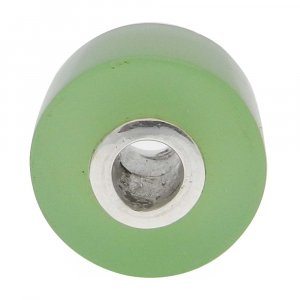 Prehnite Hydro Big Hole Roundel Smooth Plain Silver Core Beads 16x10x4mm 25.35 Cts