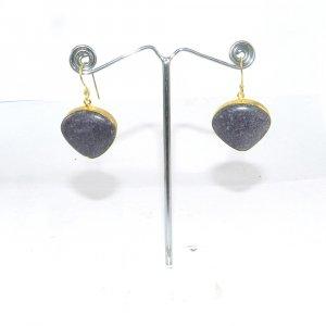 Purpurite 18k Gold plated Bezel Earring