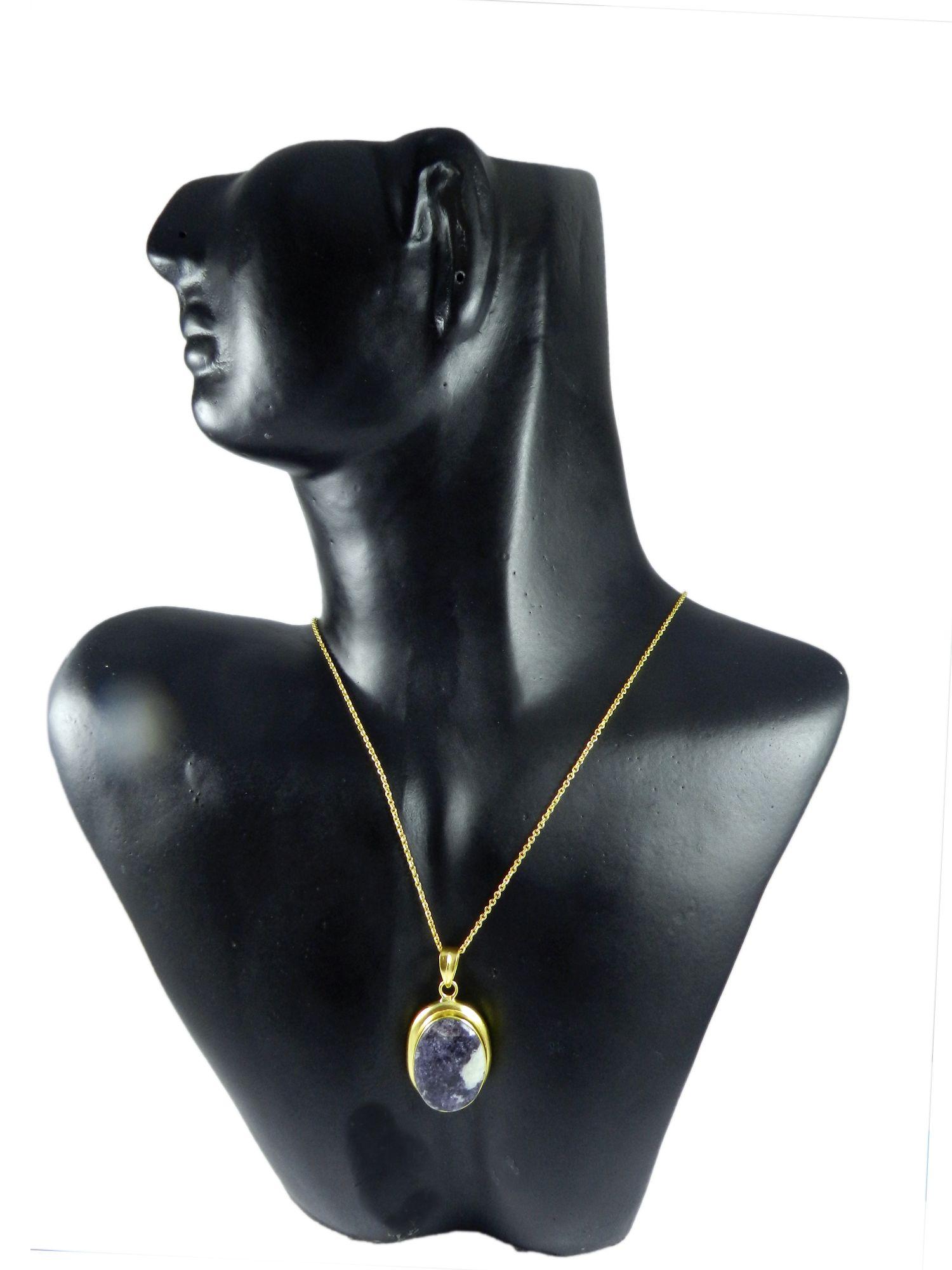 Purpurite Oval 42mm 18k Gold Plated Bezel Pendant