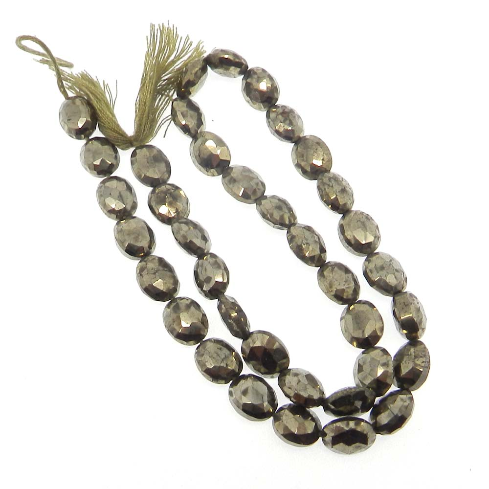 Pyrite 10x7mm Oval Facet 12 inch Strand Beads