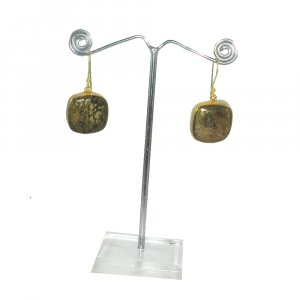 Pyrite Marcasite 18k Gold plated Bezel Earring