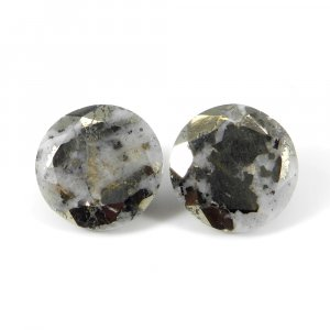Pyrite Marcasite 18mm Round Faceted Cut 27.60 Cts