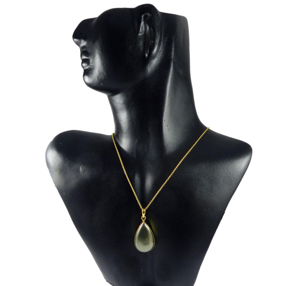 Pyrite Marcasite 43mm 18k Gold Plated Bezel Chain Pendant
