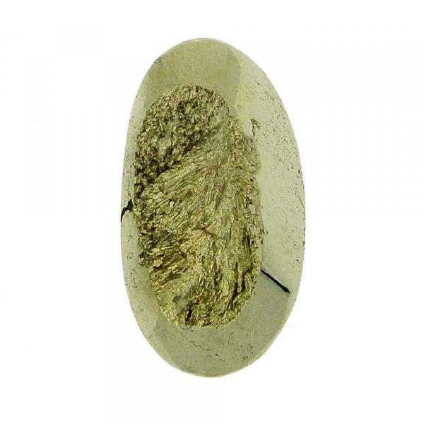 Pyrite Window Druzy 22x12mm Oval 18.6 Cts