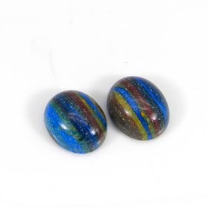 Rainbow Calsilica 12x10mm Oval Cabochon 3.95 Cts