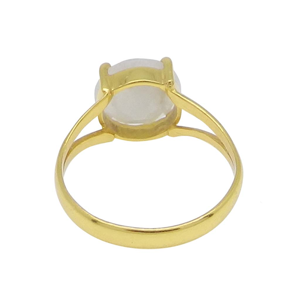 Rainbow Moonstone 10mm Round 18k Gold Plated Silver Prong Set Ring