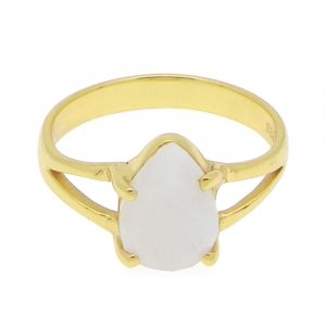Rainbow Moonstone 10x7mm Pear 18k Gold Plated Silver Prong Set Ring