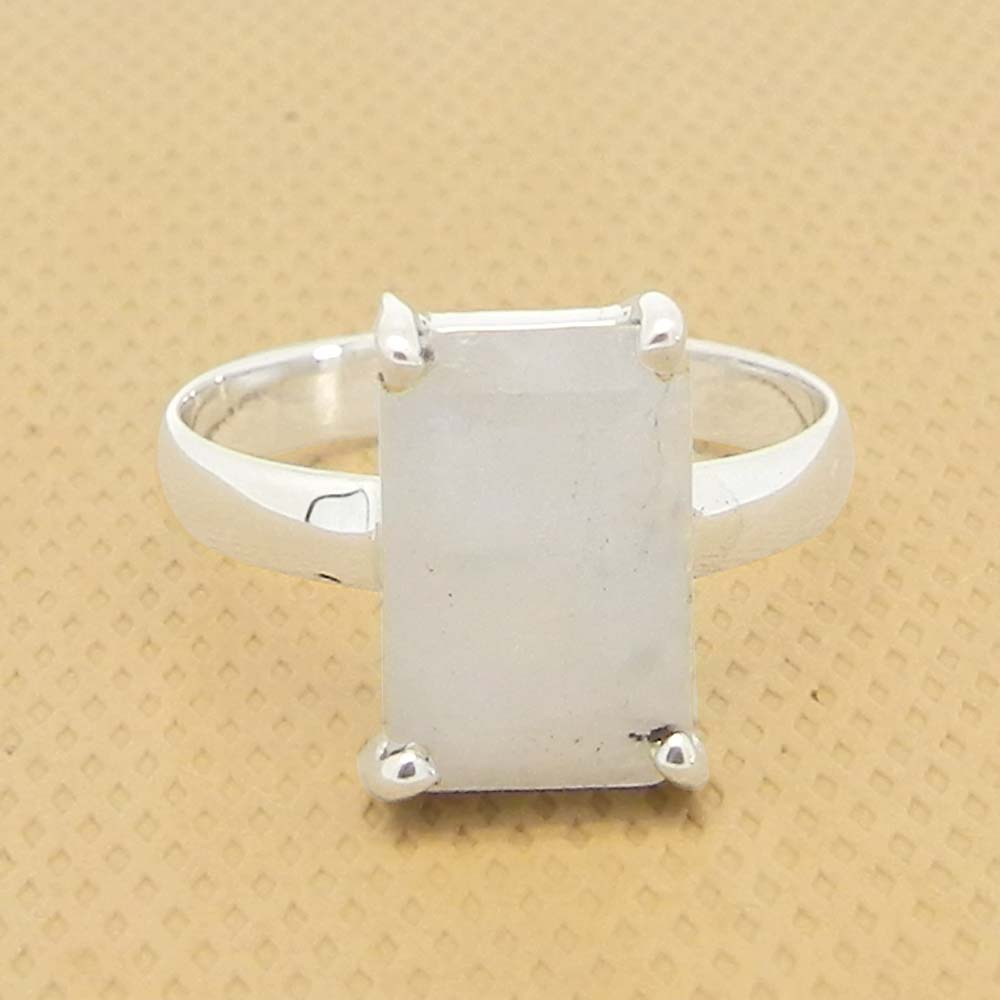Rainbow Moonstone 10x7mm Rectangle 18k Gold Plated Silver Prong Set Ring