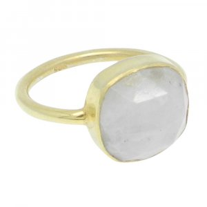 Rainbow Moonstone 12x12mm Cushion 925 Silver With Gold Plated Bezel Set