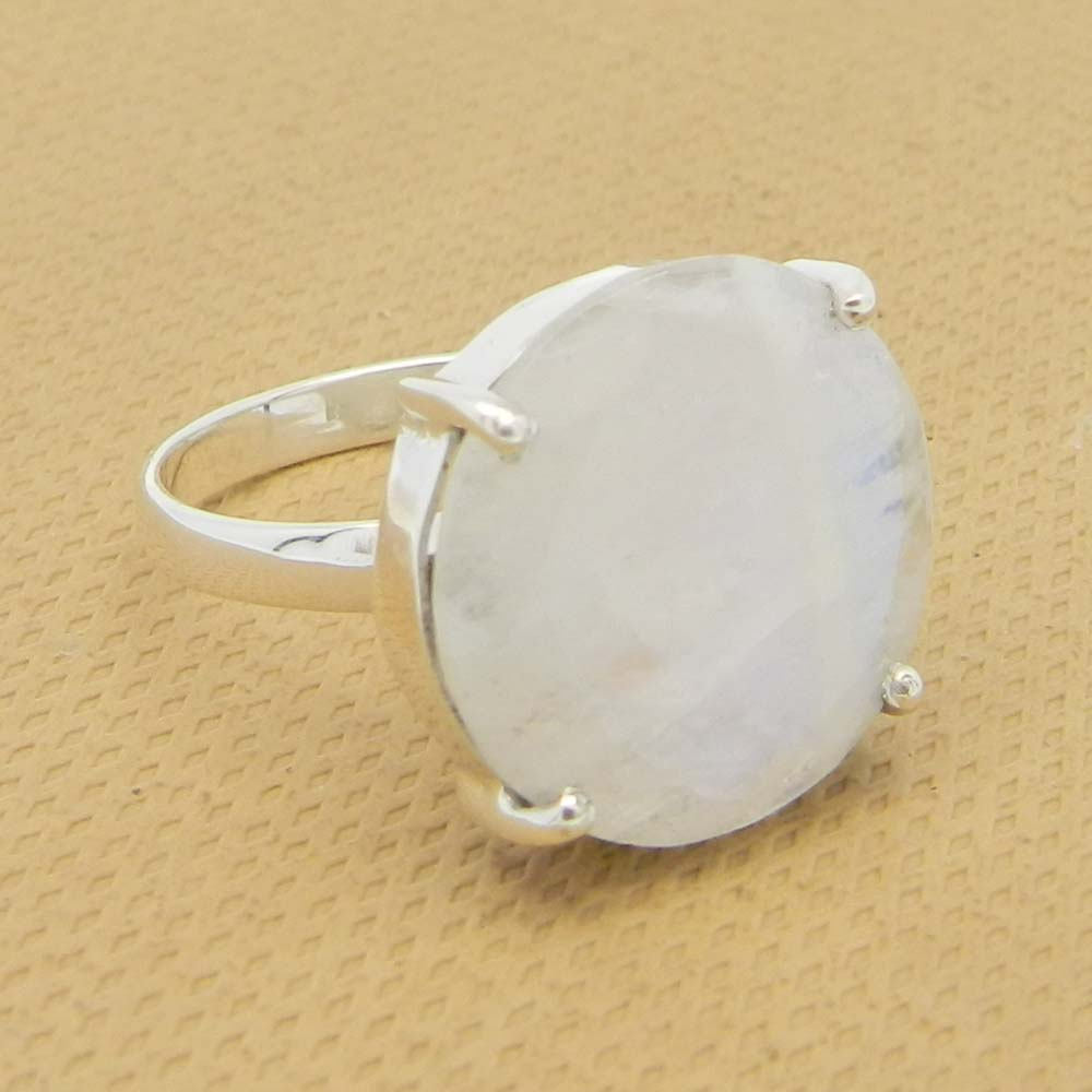 Rainbow Moonstone 16mm Round 18k Gold Plated Silver Prong Set Ring