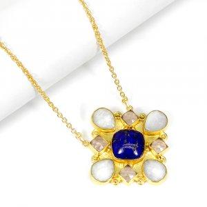 Rainbow Moonstone Rose Quartz Lapis Lazuli 19 Inch 18K Gold Plated Designer Chain Necklace