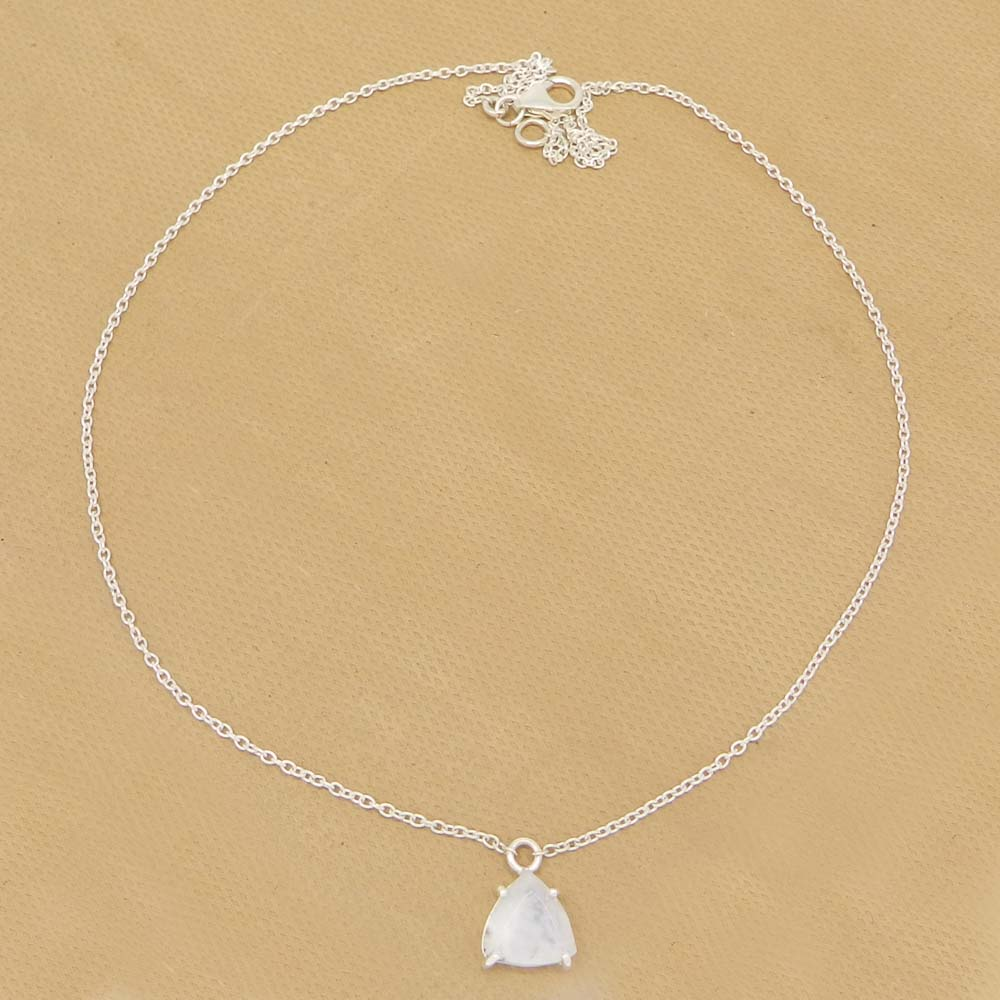 Rainbow Moonstone Trillion 18k Gold Plating Silver 18 Inch Chain Necklace