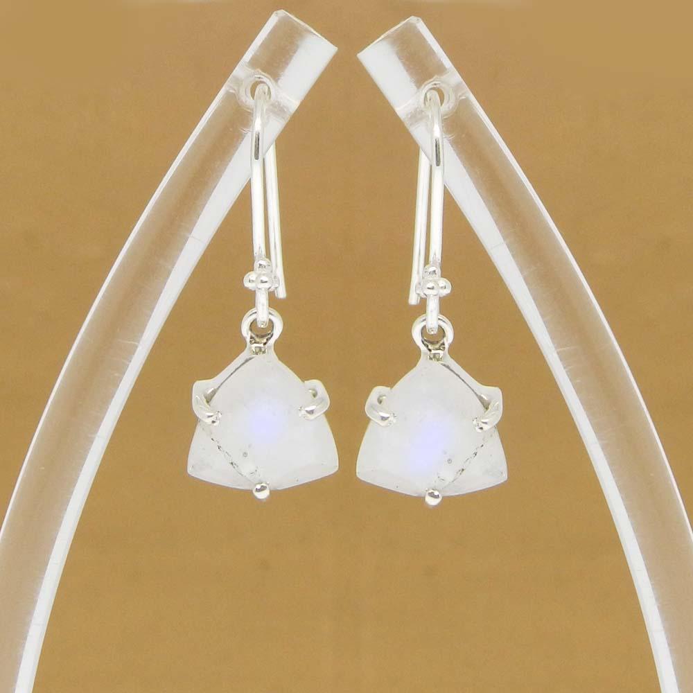 Rainbow Moonstone Trillion 18k Gold Plating Silver 2.8cm Dangle Earrings