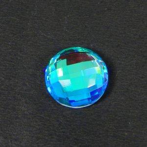 Rainbow Mystic 15mm Round Checker Cut 10.00 Cts