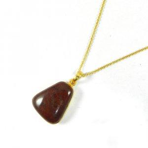 Red Jasper 36mm 18k Gold Plated Bezel Chain Pendant