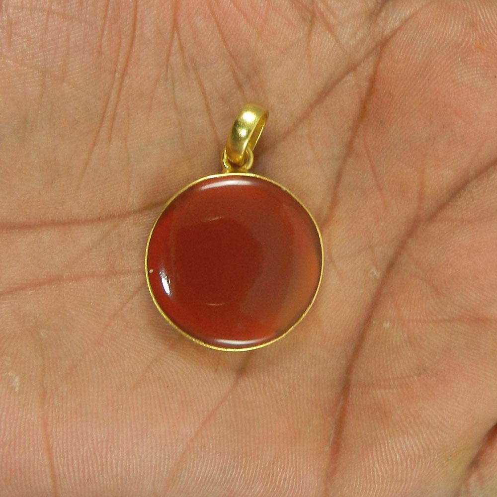 Red Onyx 40mm 18k Gold Plated Bezel Pendant