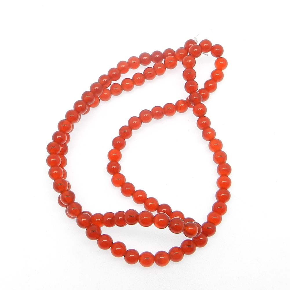 Red Onyx 4.5mm Round Smooth Plain 16 inch Strand Beads